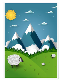 Poster  Paper landscape with sheep - Kidz Collection