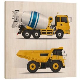 Stampa su legno  Construction sites vehicles - Kidz Collection