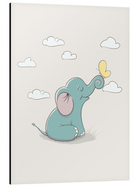 Stampa su alluminio  Little elephant with butterfly - Kidz Collection