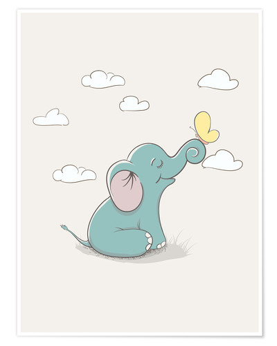 Poster Premium Little elephant with butterfly