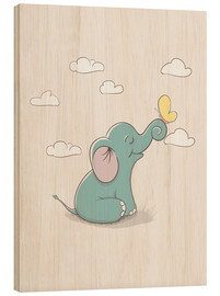 Stampa su legno  Little elephant with butterfly - Kidz Collection