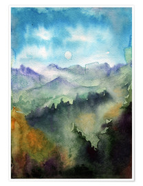 Poster Premium Mountain panorama watercolor