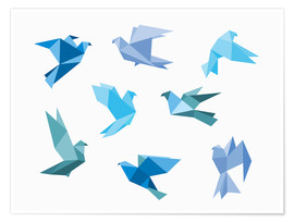 Poster Premium  Blue Origami Animals