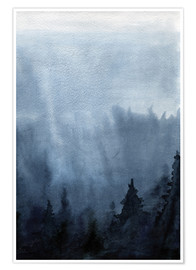 Poster  Mist over the forest