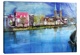 Stampa su tela  Lübeck, painter angle with cathedral - Johann Pickl