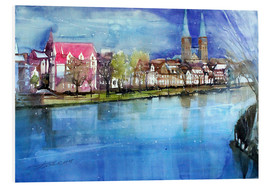 Stampa su PVC  Lübeck, painter angle with cathedral - Johann Pickl
