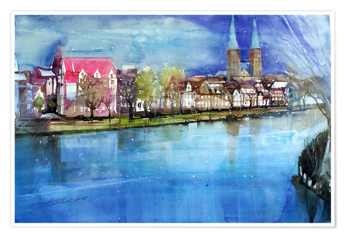 Poster Premium Lübeck, painter angle with cathedral