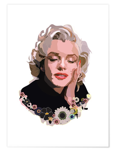 Poster Premium Marilyn Monroe With Flowers