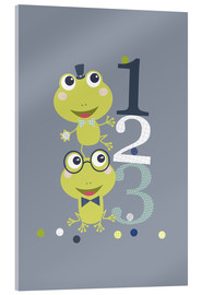 Stampa su vetro acrilico  Frogs playing with numbers - Jaysanstudio