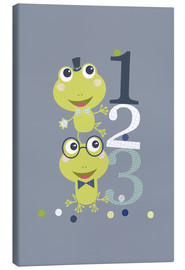 Stampa su tela  Frogs playing with numbers - Jaysanstudio
