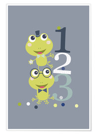 Poster Premium  Frogs playing with numbers - Jaysanstudio