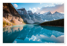 Poster Premium Sunset over Moraine lake, Banff, Canada