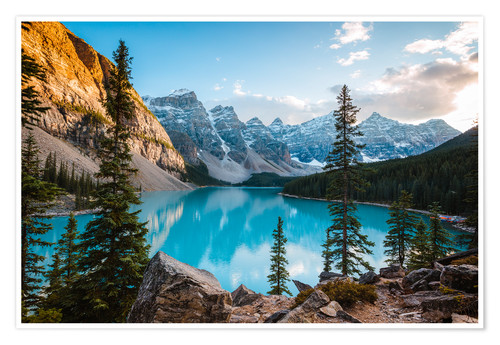 Poster Premium Sunset over Moraine lake, Canada