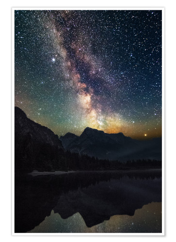 Poster Premium Milky Way over the mountains