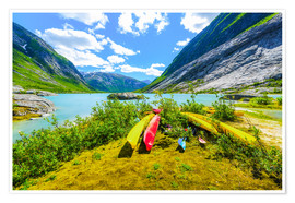 Poster Premium Canoes and mountain scenery