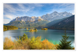 Poster Premium Autumn at the Eibsee with a view to the Zugspitze