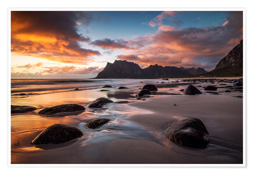 Poster Premium Sunset in Lofoten, Norway