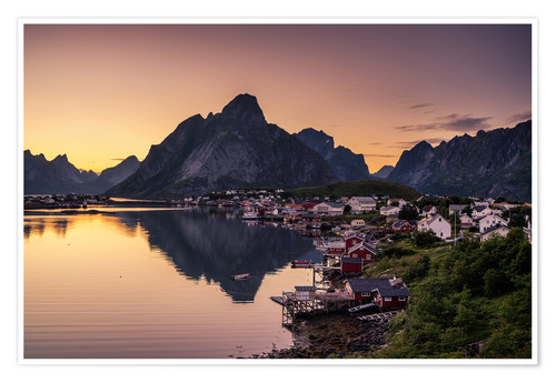 Poster Premium Sunset in Reine, Lofoten, Norway