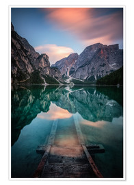 Poster Premium Lago di Braies just before sunset