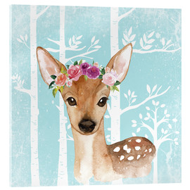 Vetro acrilico  Glamorous fawn with blossoms in the blue forest - UtArt