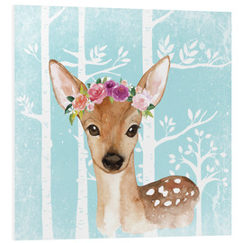 Stampa su schiuma dura  Glamorous fawn with blossoms in the blue forest - UtArt