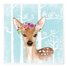 Poster Premium  Glamorous fawn with blossoms in the blue forest - UtArt