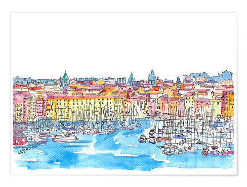 Poster Premium Palermo Sicily Italy Waterfront Skyline