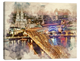 Stampa su tela  Cologne Skyline Cologne Cathedral - Peter Roder