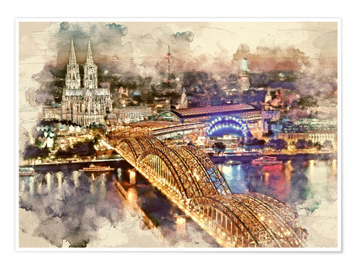 Poster Premium Cologne Skyline Cologne Cathedral