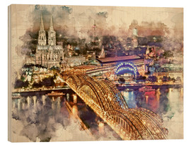 Stampa su legno  Cologne Skyline Cologne Cathedral - Peter Roder