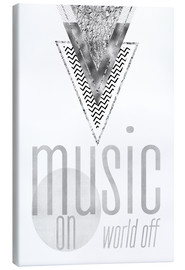 Tela  GRAPHIC ART SILVER Music on World Off - Melanie Viola
