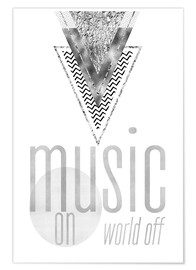 Poster Premium  GRAPHIC ART SILVER Music on World Off - Melanie Viola