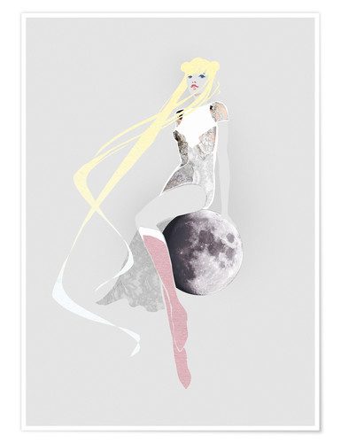 Poster Premium Girl on the moon