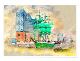 Poster  Hamburg Elbphilharmonie with the sailing ship Alexander von Humboldt - Peter Roder