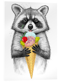 Vetro acrilico  Raccoon with ice cream - Nikita Korenkov