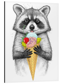 Stampa su alluminio  Raccoon with ice cream - Nikita Korenkov