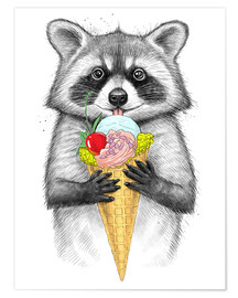 Poster Premium  Raccoon with ice cream - Nikita Korenkov