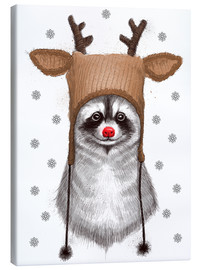 Stampa su tela  Raccoon in Deer Hat - Nikita Korenkov