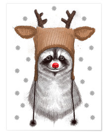 Poster Premium Raccoon in Deer Hat