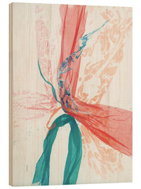 Legno  Peach and Teal abstract - Jan Sullivan Fowler