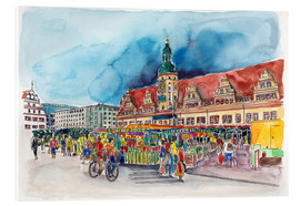 Stampa su vetro acrilico  Leipzig Weekly market in front of the Old Town Hall - Hartmut Buse