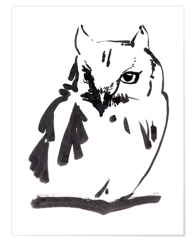 Poster Premium Owl black ink drawing