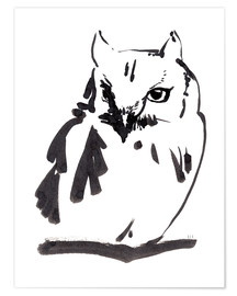 Poster Owl black ink drawing