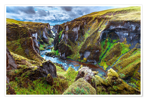 Poster Premium Incredible volcanic Canyon on Iceland