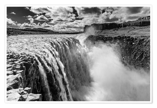 Poster Premium Dettifoss on Iceland (monochrome)