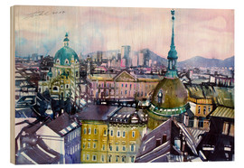 Stampa su legno  Vienna, view to the Karls church - Johann Pickl