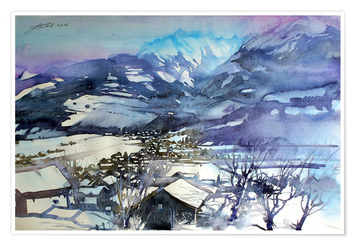 Poster Premium Niedernsill in winter