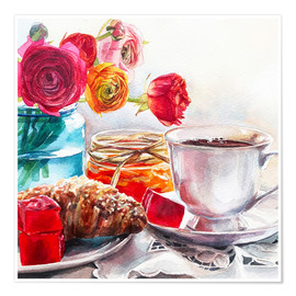 Poster Premium Coffee and croissant breakfast