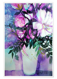 Poster Premium White peonies with lilac