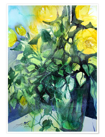 Poster Premium Yellow roses with ivy in vase